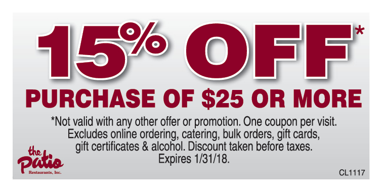 THE PATIO BBQ: 15% Off Purchase Of $25 Or More