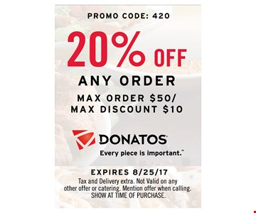 20% OFF any order  - max order $50/max discount $10