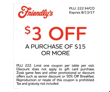 $3 off a purchase of $15 or more. PLU 222. Limit one coupon per table per visit. Free kids meal with the purchase of each adult entree excluding $5.55 menu entrees. not valid for online orders. Discount does not apply to gift card purchase, Ziosk game fees and other promotional or discount offers such as senior discount or 50% off breakfast. Reproduction or resale of this coupon is prohibited. Tax and gratuity not included.