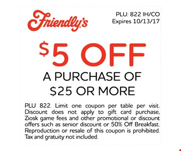 $5 Off Any Purchase of $25 or more