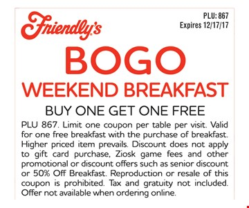 Bogo weekend breakfast
