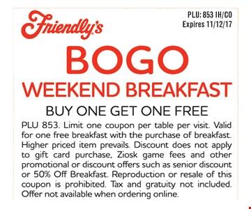 BOGO Weekend Breakfast, Buy One Get One Free