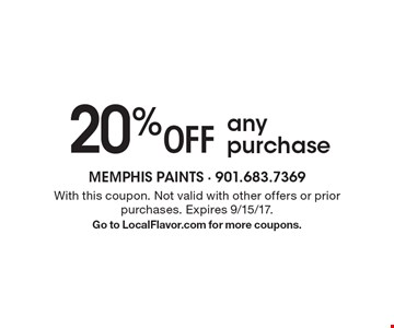 20% Off any purchase. With this coupon. Not valid with other offers or prior purchases. Expires 9/15/17. Go to LocalFlavor.com for more coupons.