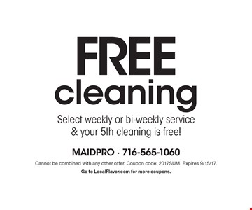 Free cleaning. Select weekly or bi-weekly service & your 5th cleaning is free!. Cannot be combined with any other offer. Coupon code: 2017SUM. Expires 9/15/17.Go to LocalFlavor.com for more coupons.
