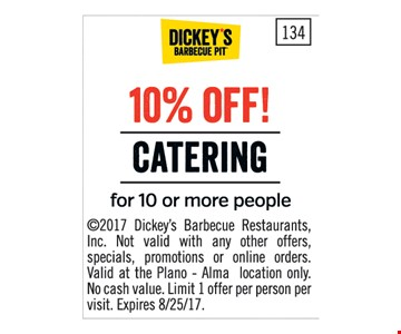 10% Off Catering for 10 or more people