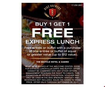 buy one get one free express lunch