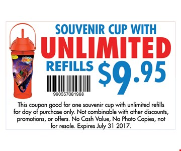 Souvenir cup with unlimited refills $9.95. Buy one get one free on admission tickets. this coupon good for one free admission with a paid admission for the day plus 5% East Dundee amusement tax, Not combinable with other discounts, promotions, or offers. No cash value, No photo copies, not for resale. Expires July 31 2017.