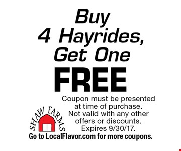 Buy 4 Hayrides, Get One FREE. Coupon must be presented at time of purchase. Not valid with any other offers or discounts. Expires 9/30/17. Go to LocalFlavor.com for more coupons.