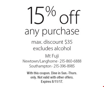 15% off any purchase max. discount $35excludes alcohol. With this coupon. Dine in Sun.-Thurs. only. Not valid with other offers.Expires 8/11/17.