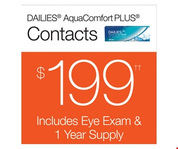 DAILIES® AquaComfort PLUS® Contacts $199. Includes eye exam & 1 year supply.
