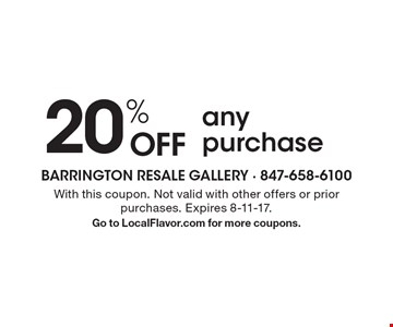 20% OFF any purchase. With this coupon. Not valid with other offers or prior purchases. Expires 8-11-17. Go to LocalFlavor.com for more coupons.