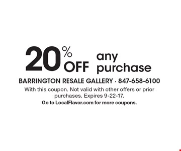 20% OFF any purchase. With this coupon. Not valid with other offers or prior purchases. Expires 9-22-17.Go to LocalFlavor.com for more coupons.