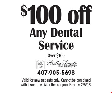$100 off Any Dental Service Over $100. Valid for new patients only. Cannot be combined with insurance. With this coupon. Expires 2/5/18.