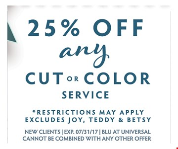 25% OFF any cut or color service