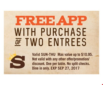 Free App with purchase of Two Entrees
