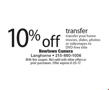 10% off transfer transfer your home movies, slides, photos or videotapes to DVD-free title. With this coupon. Not valid with other offers or  prior purchases. Offer expires 8-25-17.