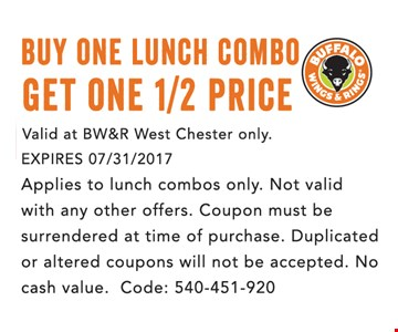 Buy One Lunch Combo, Get One 1/2 Price