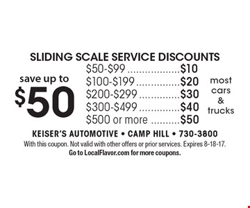 Sliding scale service discounts. Save up to $50. $50-$99 $10, $100-$199$20, $200-$299 $30, $300-$499 $40, $500 or more $50. Most cars & trucks. With this coupon. Not valid with other offers or prior services. Expires 8-18-17. Go to LocalFlavor.com for more coupons.