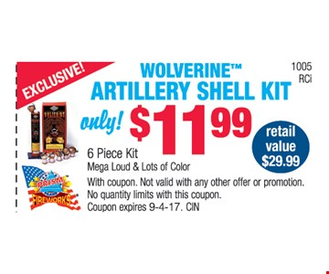 Woverine™ artillery shell kit only $11.99