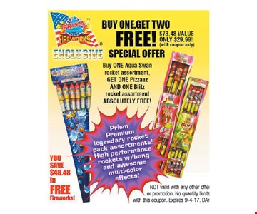Buy one, Get two FREE! Special Offer buy one Aqua Swan rocket assortment
