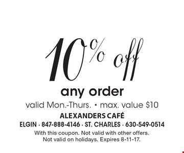 10% off any order. Valid Mon.-Thurs. - max. value $10. With this coupon. Not valid with other offers. Not valid on holidays. Expires 8-11-17.