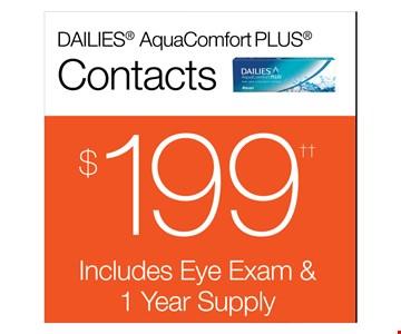 $199 Dailies AquaComfort PLUS Contacts