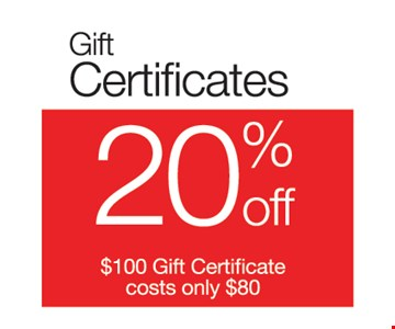 20% off Gift Certificates