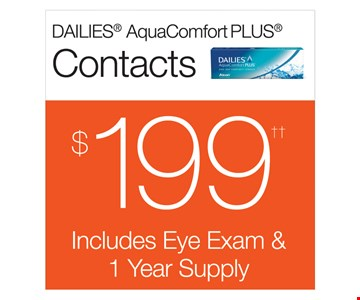 Contacts $199 Includes Eye Exam & 1 Year Supply