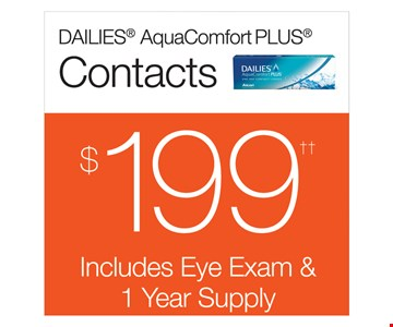 Dailies AquaComfort PLUS Contacts $199 Includes Eye Exam & 1 Year Supply