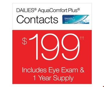 $199 Dailies® AquaComfort Plus®. Includes eye exam & 1 year supply.