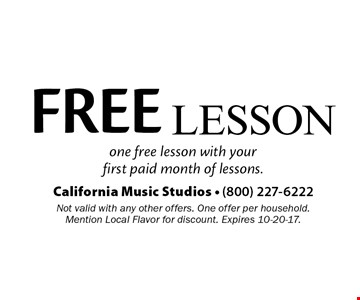 FREE Lesson. One free lesson with your first paid month of lessons. Not valid with any other offers. One offer per household. Mention Local Flavor for discount. Expires 10-20-17.