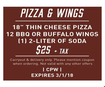 Pizza & Wings $25