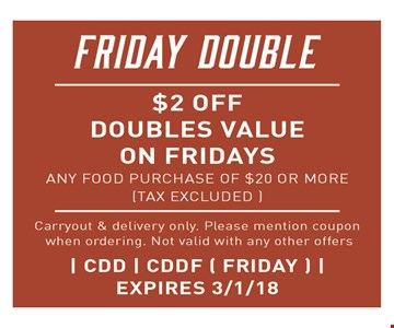 $2 off doubles value on Fridays
