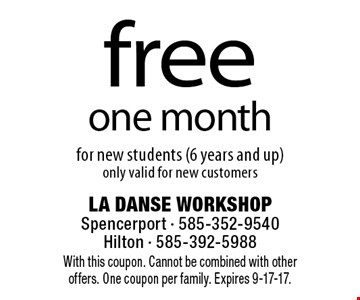Free one month for new students (6 years and up)only valid for new customers. With this coupon. Cannot be combined with other offers. One coupon per family. Expires 9-17-17.