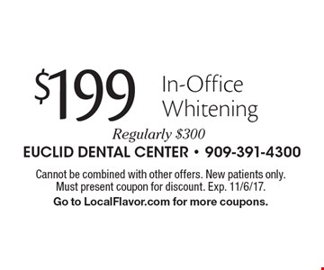 $199 In-Office Whitening Regularly $300. Cannot be combined with other offers. New patients only. Must present coupon for discount. Exp. 11/6/17. Go to LocalFlavor.com for more coupons.