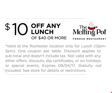 $10 OFF ANY LUNCH of $40 or More