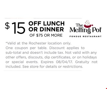 $15 OFF lunch or Dinner of $75 or More  - one coupon per table
