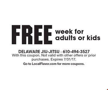 free week for adults or kids. With this coupon. Not valid with other offers or prior purchases. Expires 7/31/17.Go to LocalFlavor.com for more coupons.