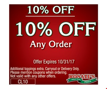 10% off any order.