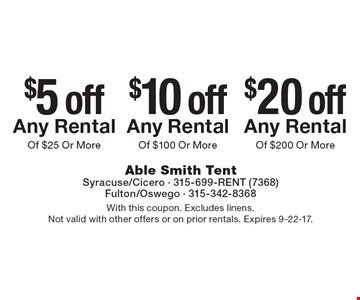 $20 off Any Rental Of $200 Or More. $10 off Any Rental Of $100 Or More. $5 off Any Rental Of $25 Or More. With this coupon. Excludes linens. Not valid with other offers or on prior rentals. Expires 9-22-17.