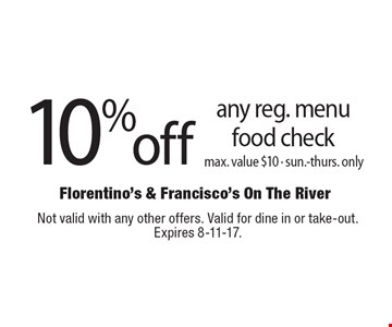 10% off any reg. menu food check. Max. value $10. Sun.-thurs. only. Not valid with any other offers. Valid for dine in or take-out. Expires 8-11-17.
