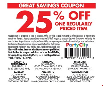 25% Off One Regularly Priced Item