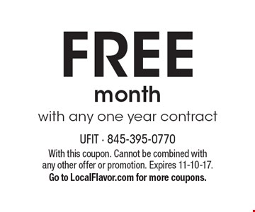 FREE month with any one year contract. With this coupon. Cannot be combined with any other offer or promotion. Expires 11-10-17. Go to LocalFlavor.com for more coupons.