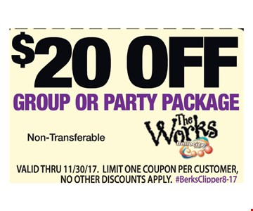 $20.00 Off Group or Party Package
