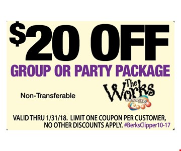 $20 off group or party package. Non-transferable. Valid thru 1/31/18. Limit one coupon per customer, no other discounts apply. #BerksClipper10-17