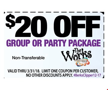 $20 OFF GROUP OR PARTY PACKAGE