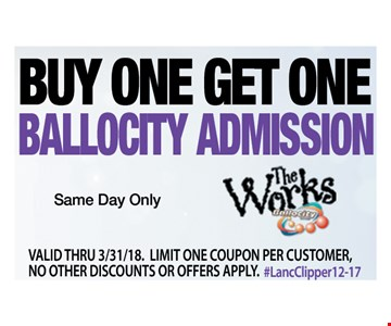 Buy One Get One Ballocity Admission Same Day Only