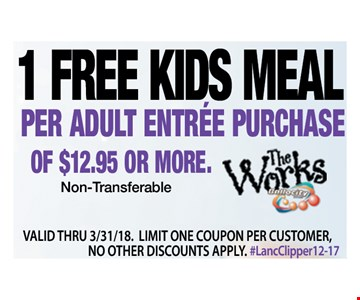 1 Free Kids Meal per adult entrée purchase of $12.95 or more