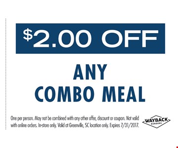 $2 OFF any Combo Meal