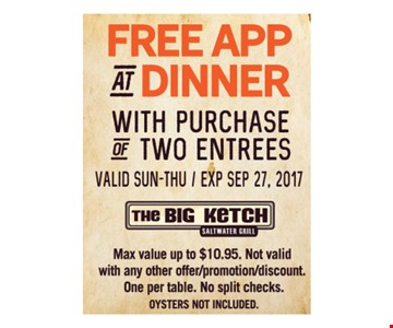 Free App at Dinner with Purchase of Two Entrees